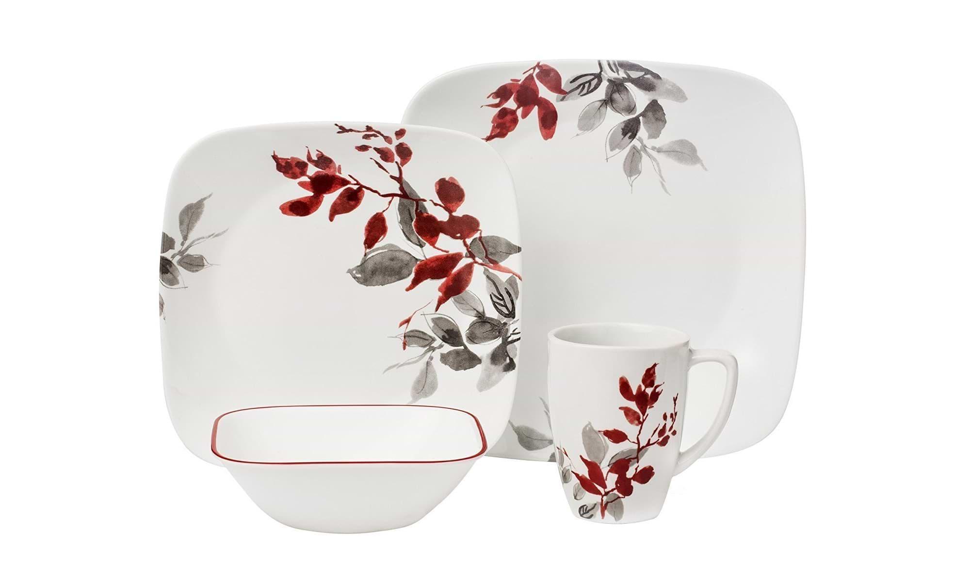 Corelle Geschirr - Set Kyoto Leaves aus Vitrelle-Glas für 4 Personen