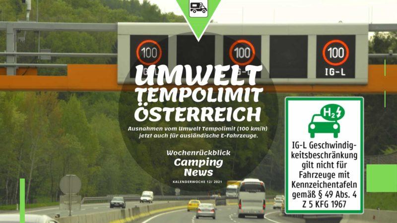 Umwelt Tempolimit Österreich - Wochenrückblick Camping News KW12-2021