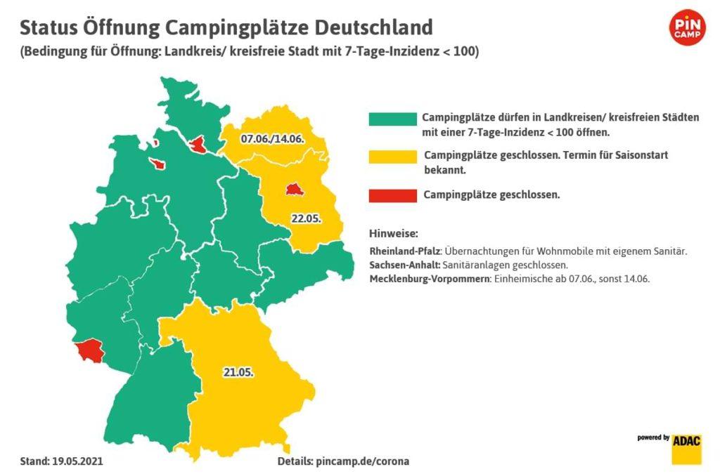 Camping Pfingsten Öffnungen Campingplätze Deutschland Karte