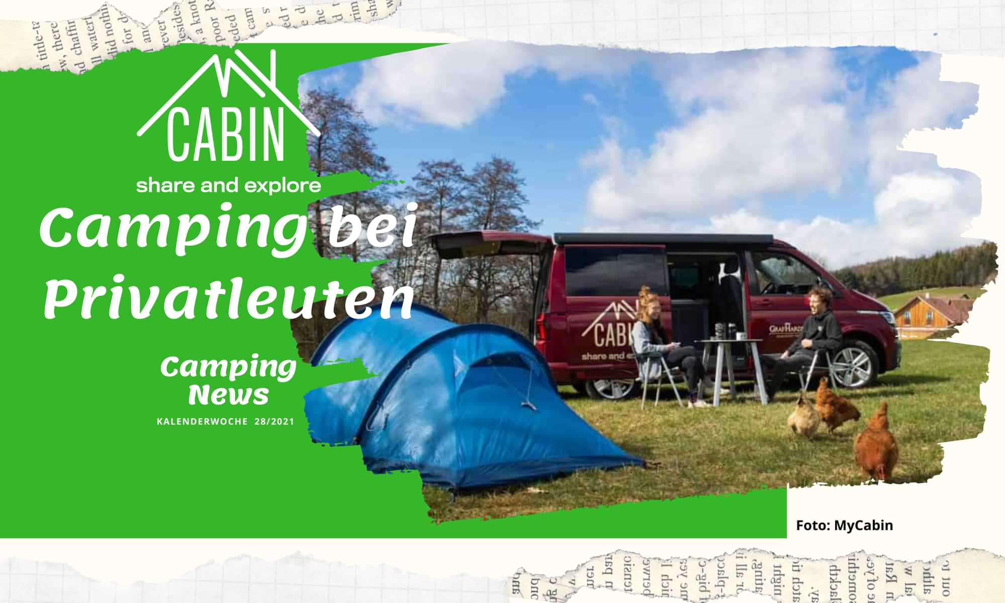 Camping bei Privatleuten – MyCabin vermittelt Übernachtungsplätze